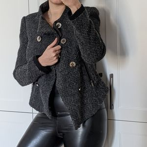 ZARA Medium Metallic Wool Double Breasted Coat